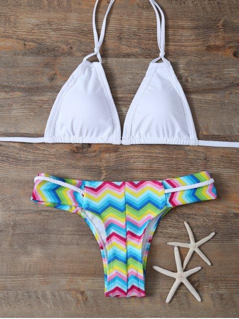 sale Padded Braided Zig Zag Bikini Set - WHITE L Mobile