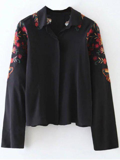 women Casual Floral Shirt - BLACK L Mobile