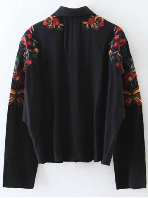 ladies Casual Floral Shirt - BLACK S Mobile