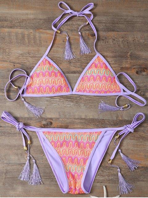 lady Halter Lace Patch String Bikini - PURPLE M Mobile
