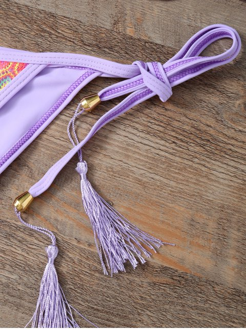 best Halter Lace Patch String Bikini - PURPLE S Mobile