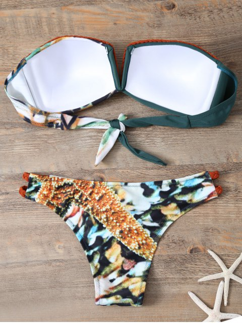 hot Braided Printed Strapless Bikini - BLACKISH GREEN S Mobile