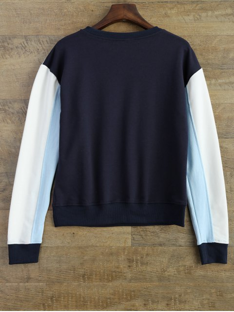 women's Leisure Color Block Sweatshirt - BLUE XL Mobile