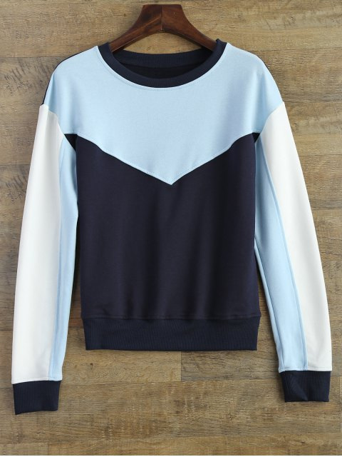 best Leisure Color Block Sweatshirt - BLUE S Mobile