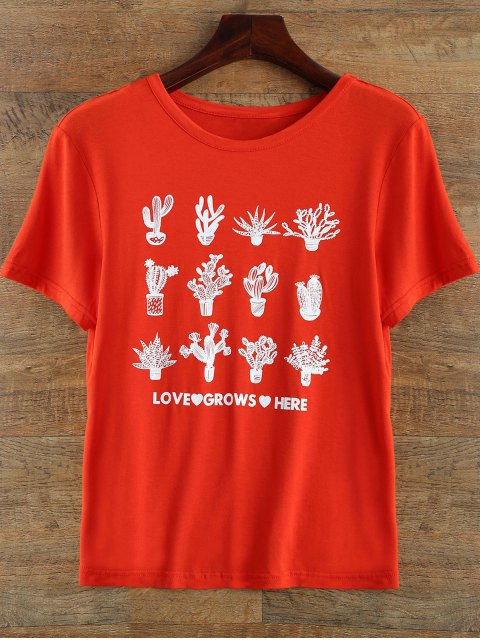 sale Short Sleeve Plant Print T Shirt - RED M Mobile