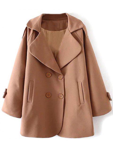 best Lapel Collar Woolen Peacoat - KHAKI M Mobile