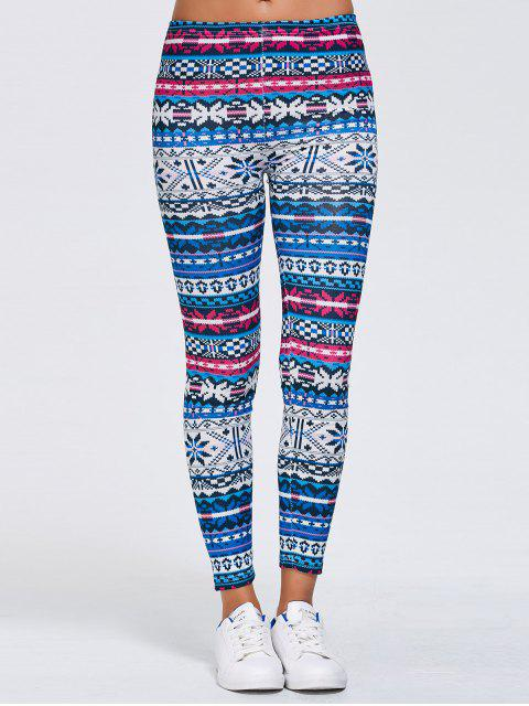 online Slimming Fair Isle Stretchy Leggings - BLUE XL Mobile