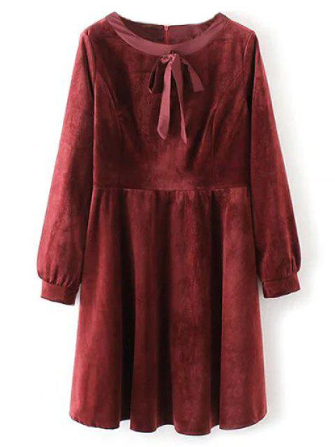 online Bowknot Round Neck Smock Dress - RED L Mobile