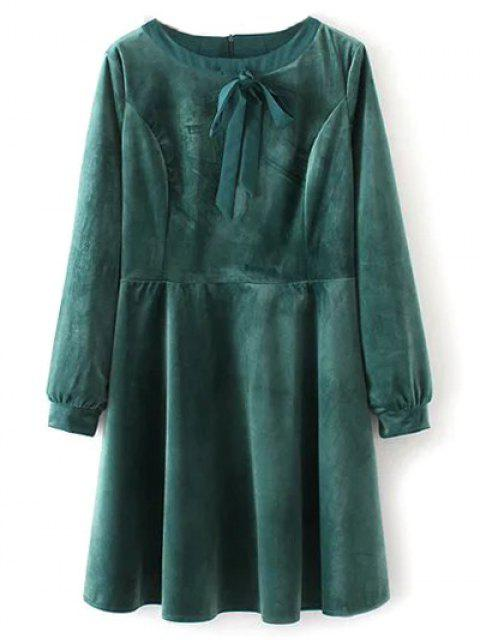 outfit Bowknot Round Neck Smock Dress - GREEN L Mobile