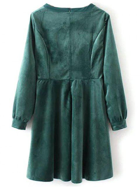 outfits Bowknot Round Neck Smock Dress - GREEN M Mobile