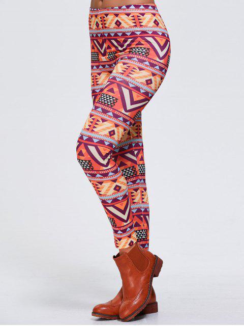new Stretchy Geometric Printed Sports Leggings - ORANGEPINK XL Mobile