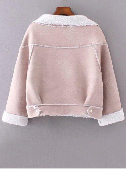 new Cropped Faux Shearling Coat - LIGHT PINK L Mobile