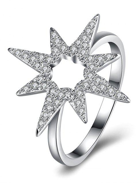 affordable Flower Star S925 Diamond Ring - SILVER 8 Mobile