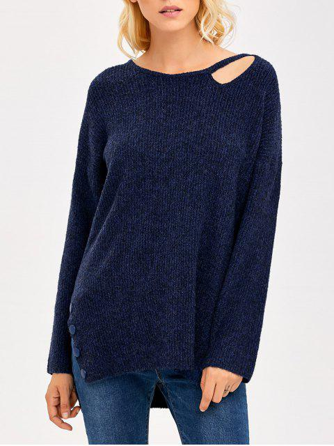 buy Side Slit Hollow Out Sweater - PURPLISH BLUE ONE SIZE Mobile
