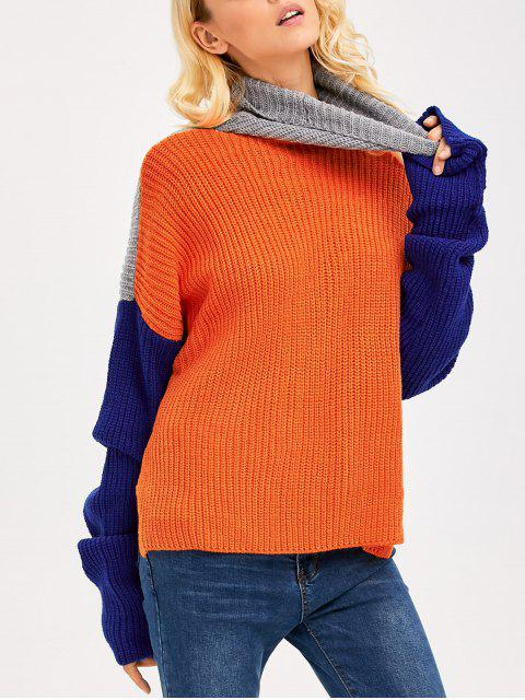 womens Pullover Side Slit Drop Shoulder Sweater - COLORMIX ONE SIZE Mobile