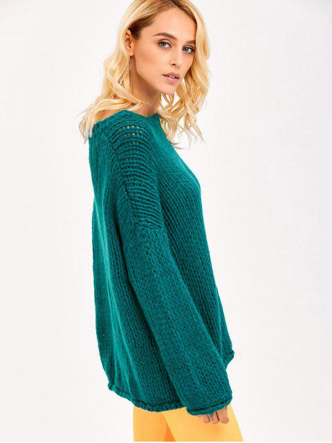 women Pullover Drop Shoulder Loose Fitting Chunky Sweater - GREEN ONE SIZE Mobile