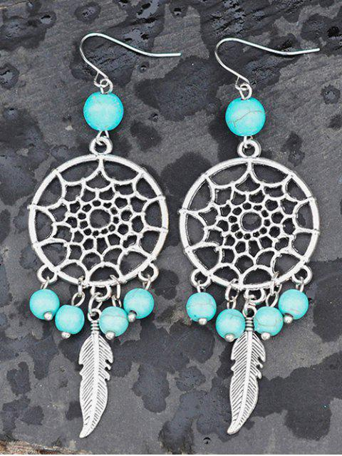 buy Hollow Out Faux Turquoise Feather Earrings -   Mobile