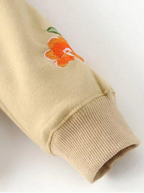 outfits Floral Embroidered Big Pocket Hoodie - KHAKI L Mobile