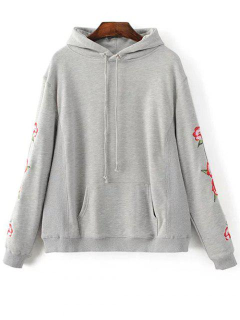 latest Floral Embroidered Big Pocket Hoodie - GRAY L Mobile