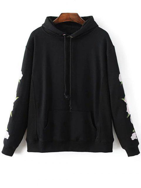 unique Floral Embroidered Big Pocket Hoodie - BLACK S Mobile