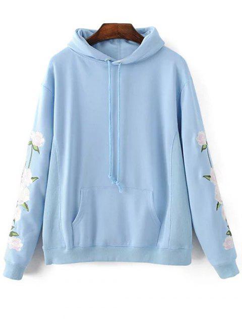 affordable Floral Embroidered Big Pocket Hoodie - LIGHT BLUE M Mobile