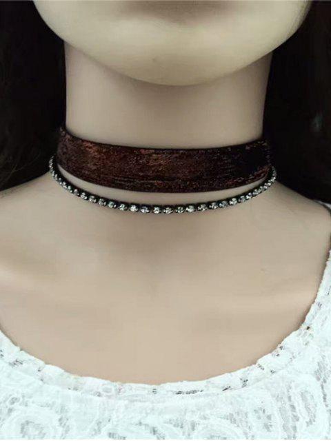 affordable Rhinestoned Velvet Choker Necklace Set -   Mobile