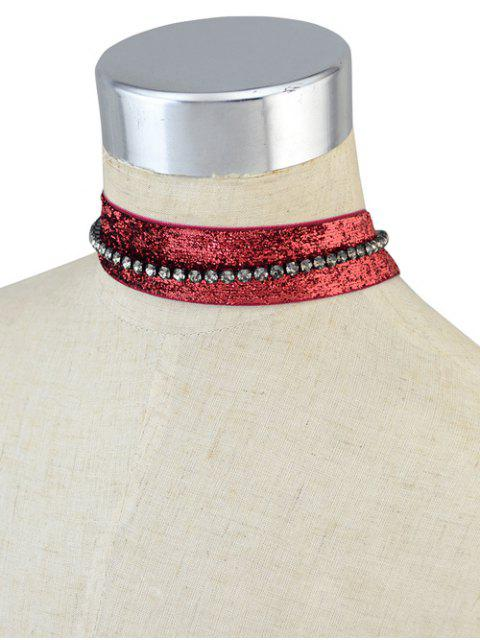 buy Rhinestoned Velvet Choker Necklace Set -   Mobile