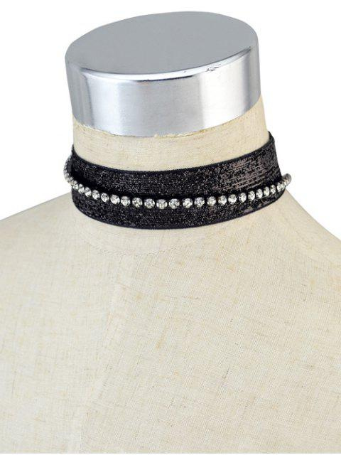 womens Rhinestoned Velvet Choker Necklace Set -   Mobile