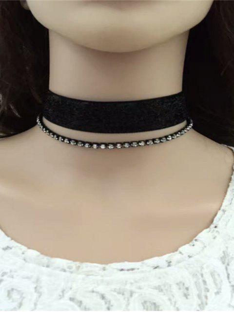 womens Rhinestoned Velvet Choker Necklace Set - BLACK  Mobile
