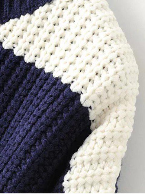 ladies Color Block Mock Neck Jumper - PURPLISH BLUE ONE SIZE Mobile