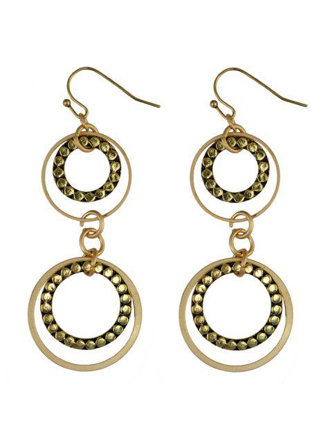 latest Rhinestone Circles Earrings - GOLDEN  Mobile
