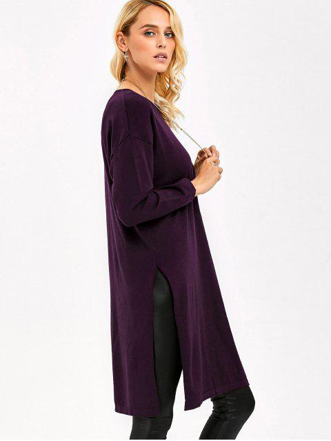 outfit Longline Side Slit Knitwear - SPARKLING GRAPE ONE SIZE Mobile