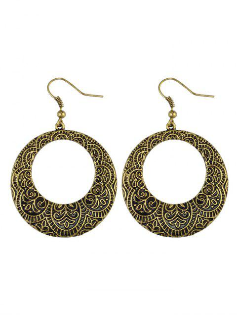 fashion Etched Floral Circle Earrings -   Mobile