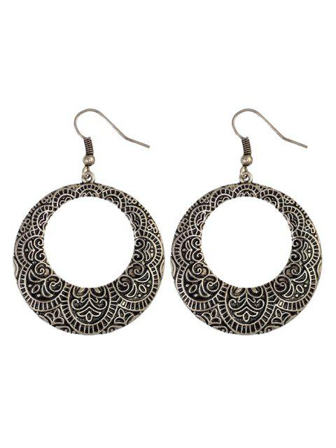 chic Etched Floral Circle Earrings -   Mobile
