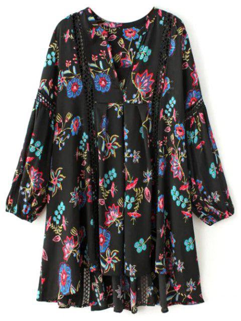 affordable Floral High-Low Mini Tunic Dress - BLACK L Mobile