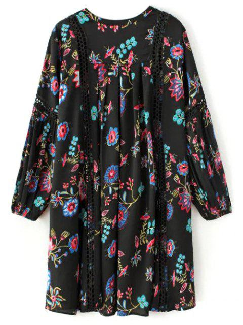 fashion Floral High-Low Mini Tunic Dress - BLACK M Mobile