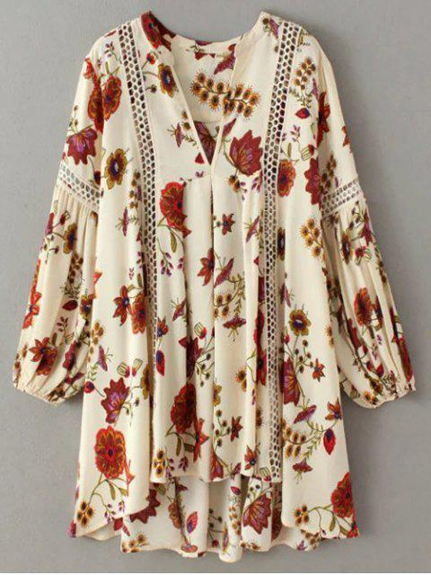 sale Floral High-Low Mini Tunic Dress - BEIGE S Mobile