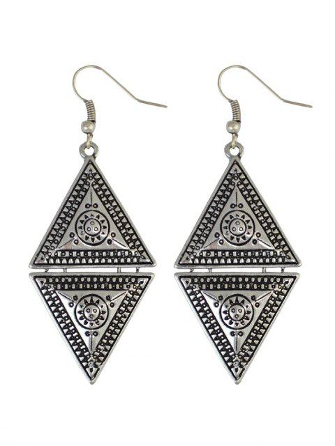 affordable Geometric Panel Drop Earrings - SILVER  Mobile