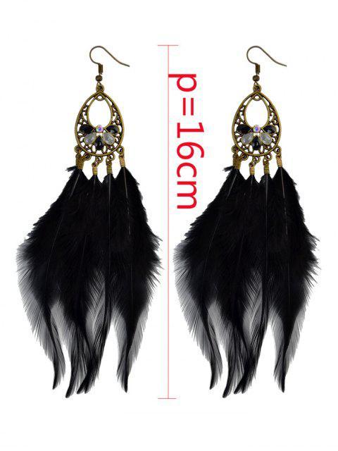 buy Bohemian Rhinestone Feather Teardrop Earrings -   Mobile