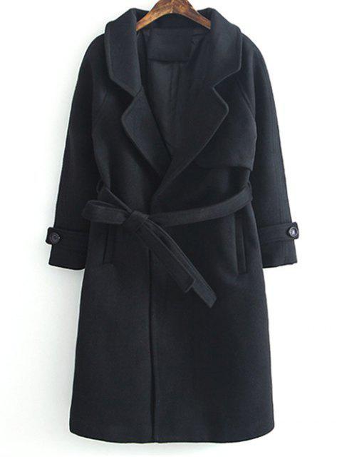 womens Woolen Lapel Collar Belted Coat - BLACK XL Mobile