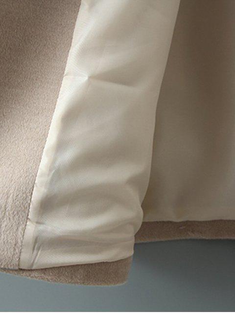 best Woolen Lapel Collar Belted Coat - KHAKI L Mobile