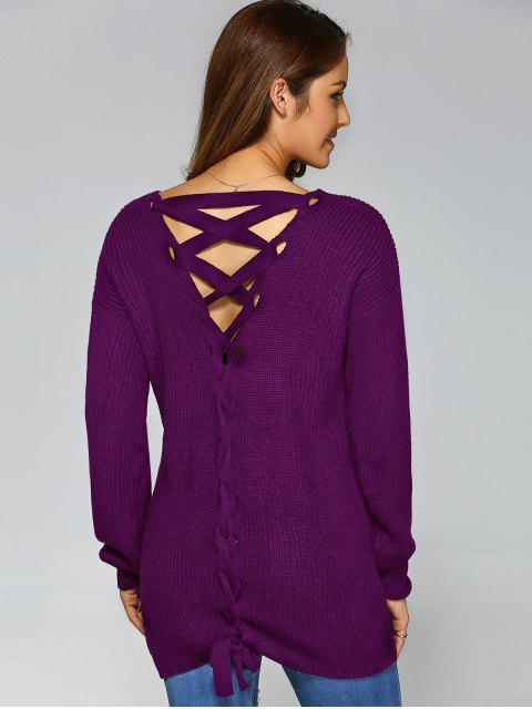 shops Drop Shoulder Lace Up Sweater - PURPLE M Mobile