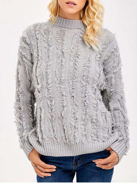 best Fringe Design Drop Shoulder Sweater - LIGHT GRAY ONE SIZE Mobile