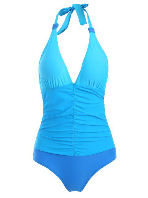 fancy Ruched Color Block One-Piece Swimwear - BLUE L Mobile