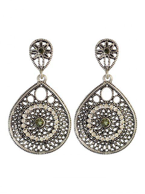 women Vintage Teardrop Rhinestone Earrings - SILVER  Mobile