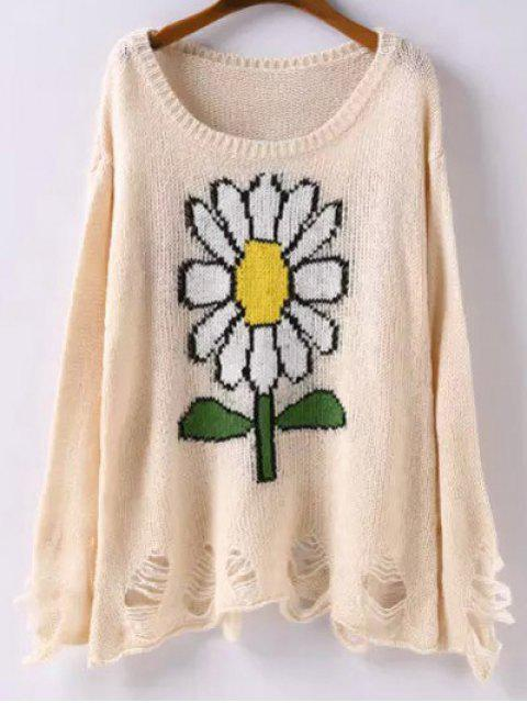 hot Scoop Neck Sunflower Jacquard Ripped Sweater - APRICOT M Mobile