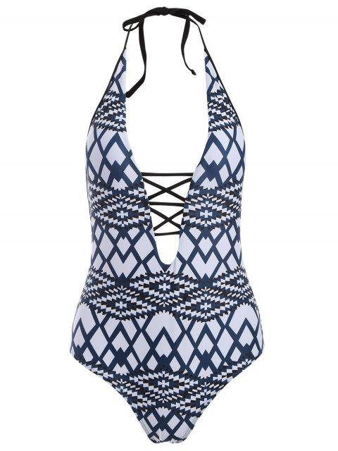 latest Geometric Cut Out One-Piece Swimwear -   Mobile