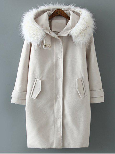 hot Fur Hooded Woolen Coat - OFF-WHITE XL Mobile