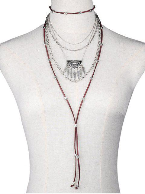 affordable Chain Feather Faux Leather Multilayer Necklace -   Mobile