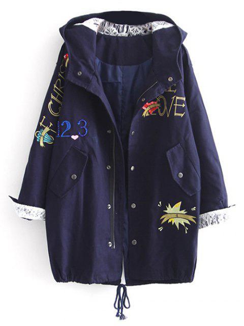 fancy Letter Embroidered Hooded Sequins Coat - DEEP BLUE M Mobile